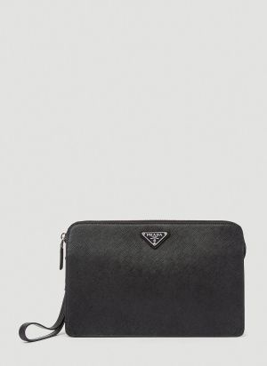 Prada Saffiano Leather Clutch Bag in Black