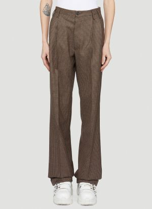 Maison Margiela Checked Straight Leg Pants in Brown