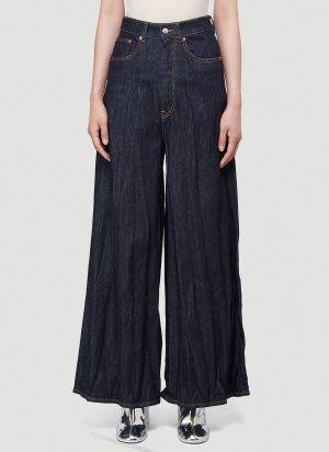 MM6 Maison Margiela Pleated Wide-Leg Jeans in Blue