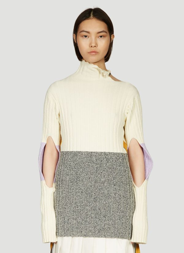 2 Moncler 1952 Contrast-Panel Knitted Sweater in White