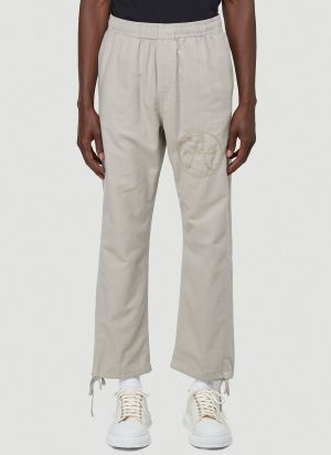 Vyner Articles Embroidered Track Pants in Grey