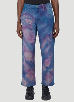 Stain Shade X Carhartt Tie-Dyed Carpenter Pants in Purple