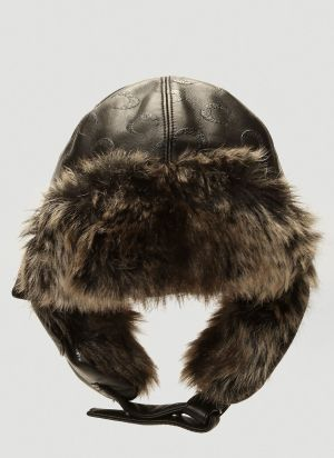 Marine Serre Faux-Fur Trimmed Hat in Black
