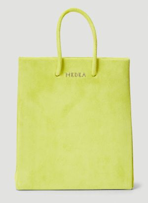 Medea Short Leather Tote Bag in Yellow