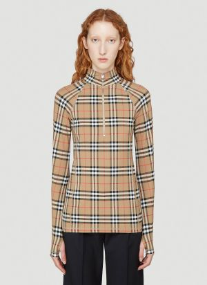 Burberry Vilan Long-Sleeved Top in Beige