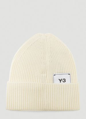 Y-3 Logo-Patch Beanie Hat in White
