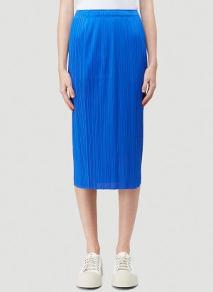 Pleats Please Issey Miyake Basics Skirt in Blue