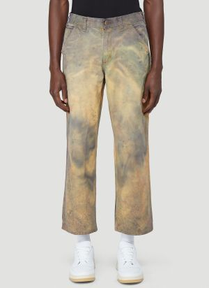 Stain Shade X Carhartt Tie-Dyed Carpenter Pants in Grey