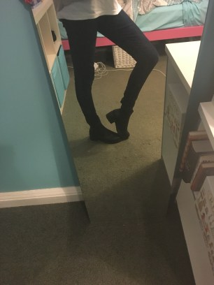 I'm wearing dark navy jeans from Target and wearing my favourite Chelsea Boots from Rubi Shoes.