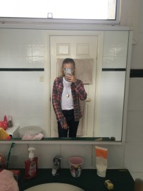 Here is a shot of my full outfit; wearing a plain white t-shirt from Target and on top, wearing a flannel from Factorie.
