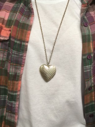 To accessorise I am wearing this gold, heart necklace from Equip.