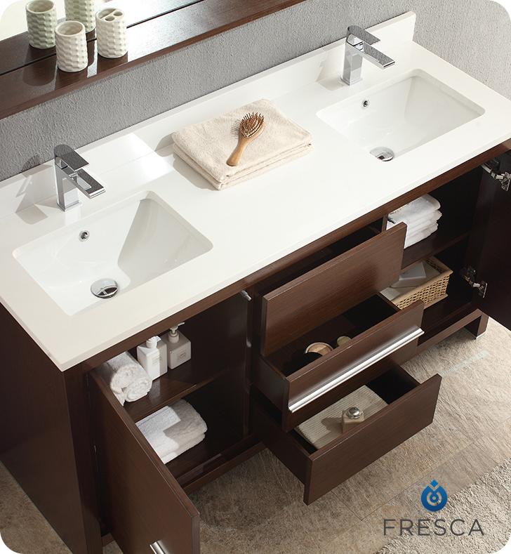 "Fresca FVN8119WG Allier 60"" Double Sink Modern Bathroom ..."