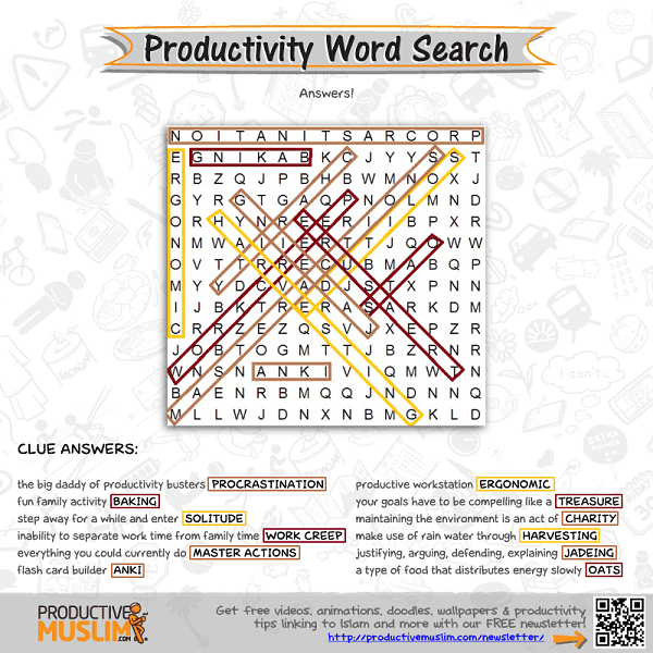 [Brain Teaser of the Month] Productivity Word Search - Answers | Productive Muslim
