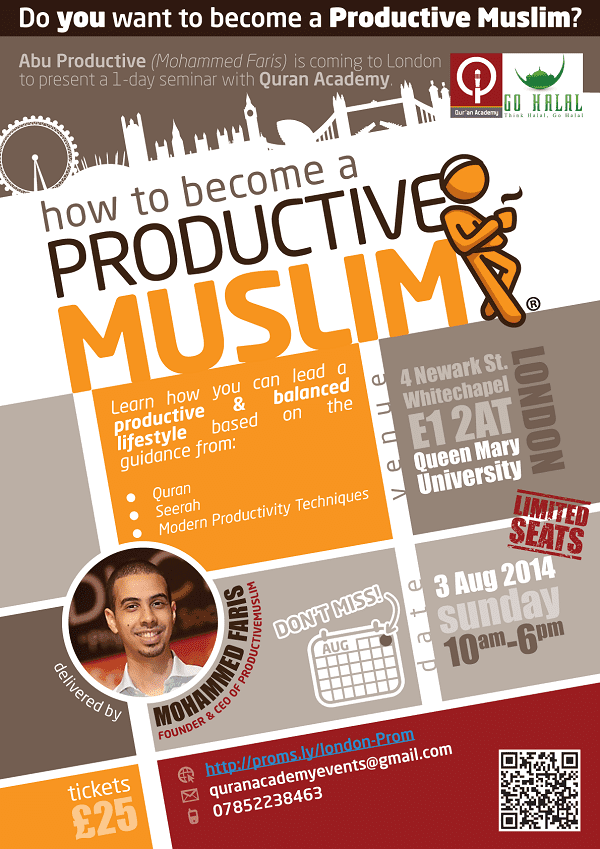 Click here to register for the ProductiveMuslim Seminar in London
