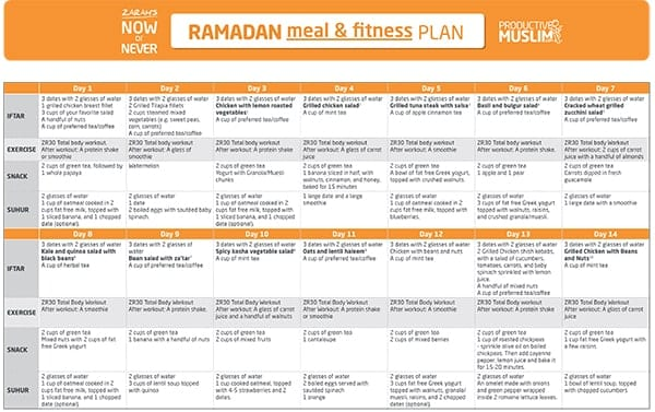 The Fasting and the Fit: 30-Day Ramadan Meal and Fitness Plan | ProductiveMuslim