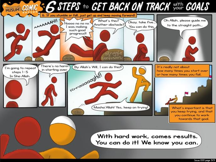 [The ProductiveMuslim Comic Series] 6 Steps to Get Back on Track With Your Goals | ProductiveMuslim