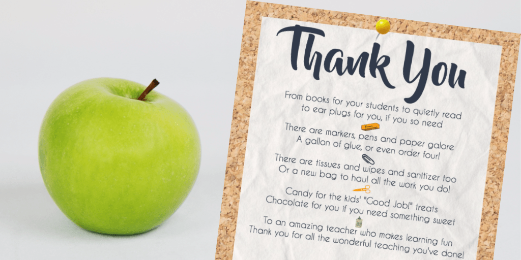 Teacher appreciation printable next to a green apple