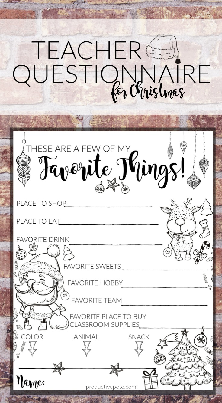 picture about Teacher Favorite Things Questionnaire Printable referred to as Trainer Present Strategy Questionnaire Printable for Xmas