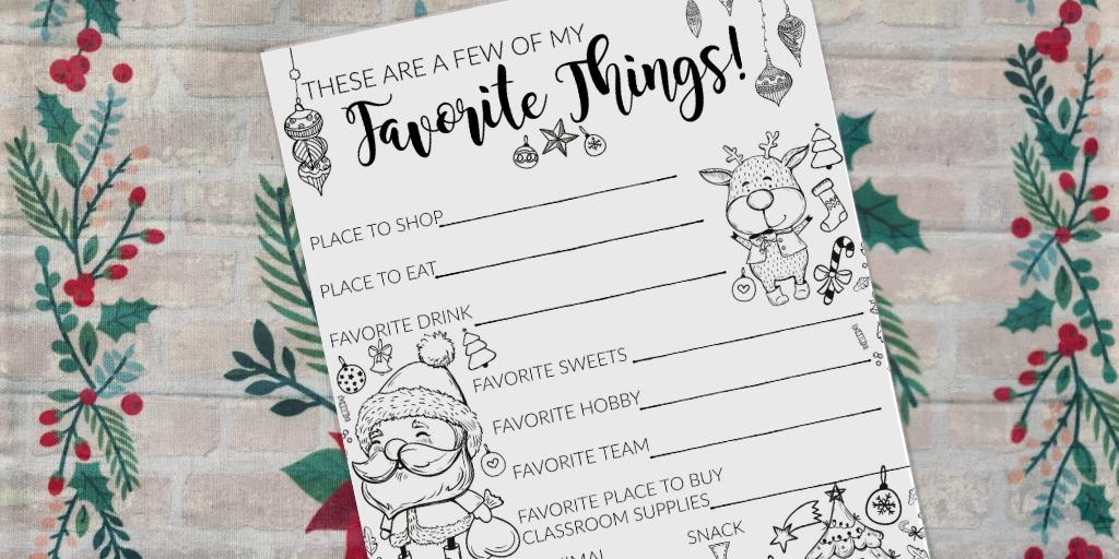 Teacher Gift Idea Questionnaire Printable For Christmas