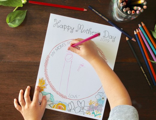 child writing on Mother's Day printable