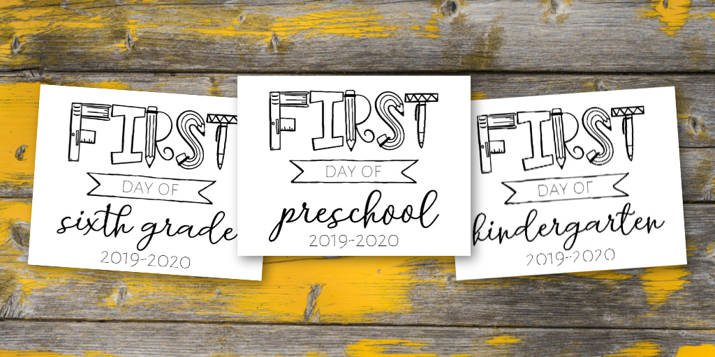 picture about First Day of School Sign Printable named Printable Initial Working day of Higher education Signs or symptoms that Small children can Coloration