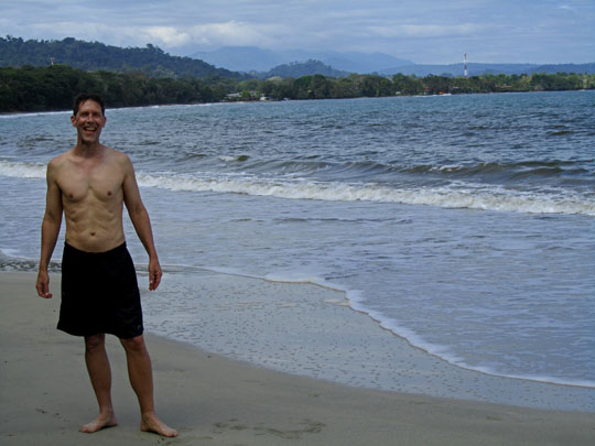 John Soares at the beach in Cahuita National Park