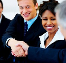 Freelance writer networking in-person with potential business clients.