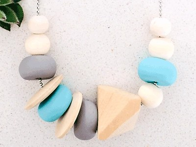 Clay-bead Necklace Aqua-Blue-Timber