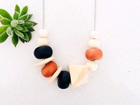 Clay-bead Necklace Black-Copper-Timber