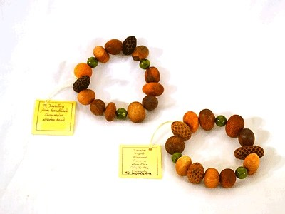 Wood Bead Bracelet with Serpentine