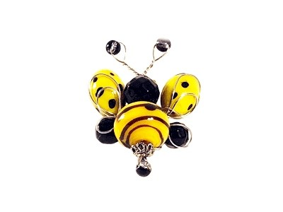 Glass-bead Bee Brooch