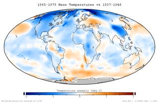 Enfriamiento global: Anomalías medias de temperaturas durante el periodo 1965 a 1975, en relación con las Tº promedios de 1937 a 1946.