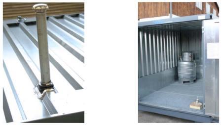 Detalle del tanque de almacenamiento de ventilación -  Colector de la sustancia peligrosa, en la esquina posterior izquierda