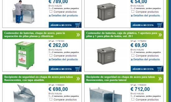 Algunos de los contenedores DENIOS para reciclar pilas y baterías – Pincha en la imagen y elige
