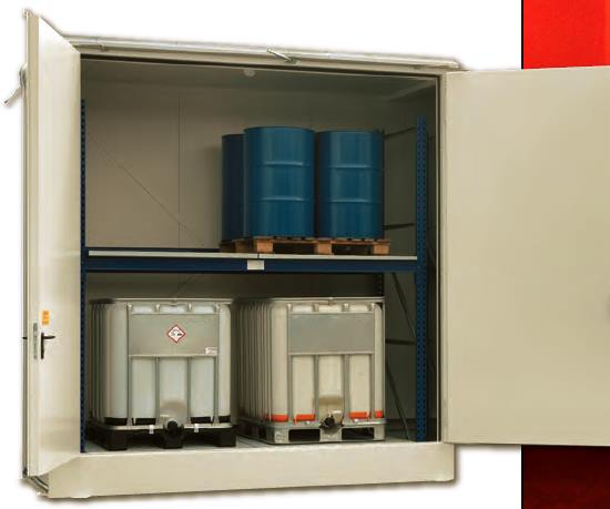 Almacenes para palets y GRGs para sustancias inflamables