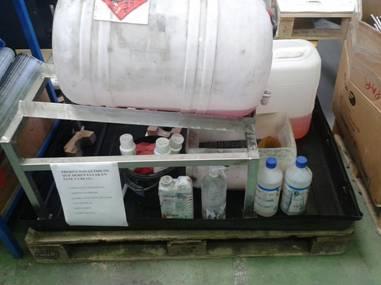 Cubeto en los puestos de trabajo con sustancias peligrosas