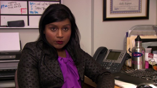 Mindy Kaling on the set of The Office
