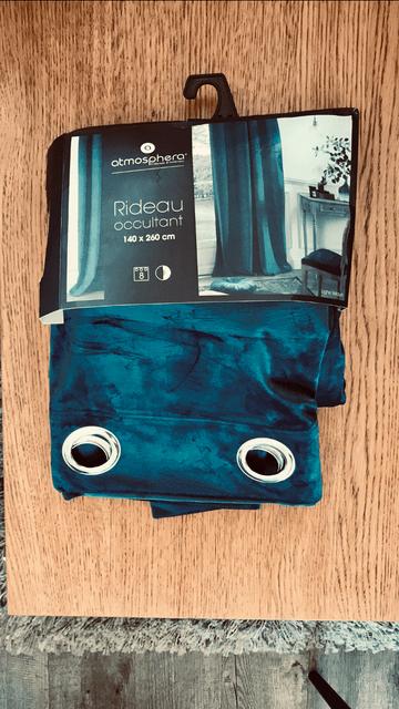rideau tamisant 140 x 260 cm velours bleu petrole