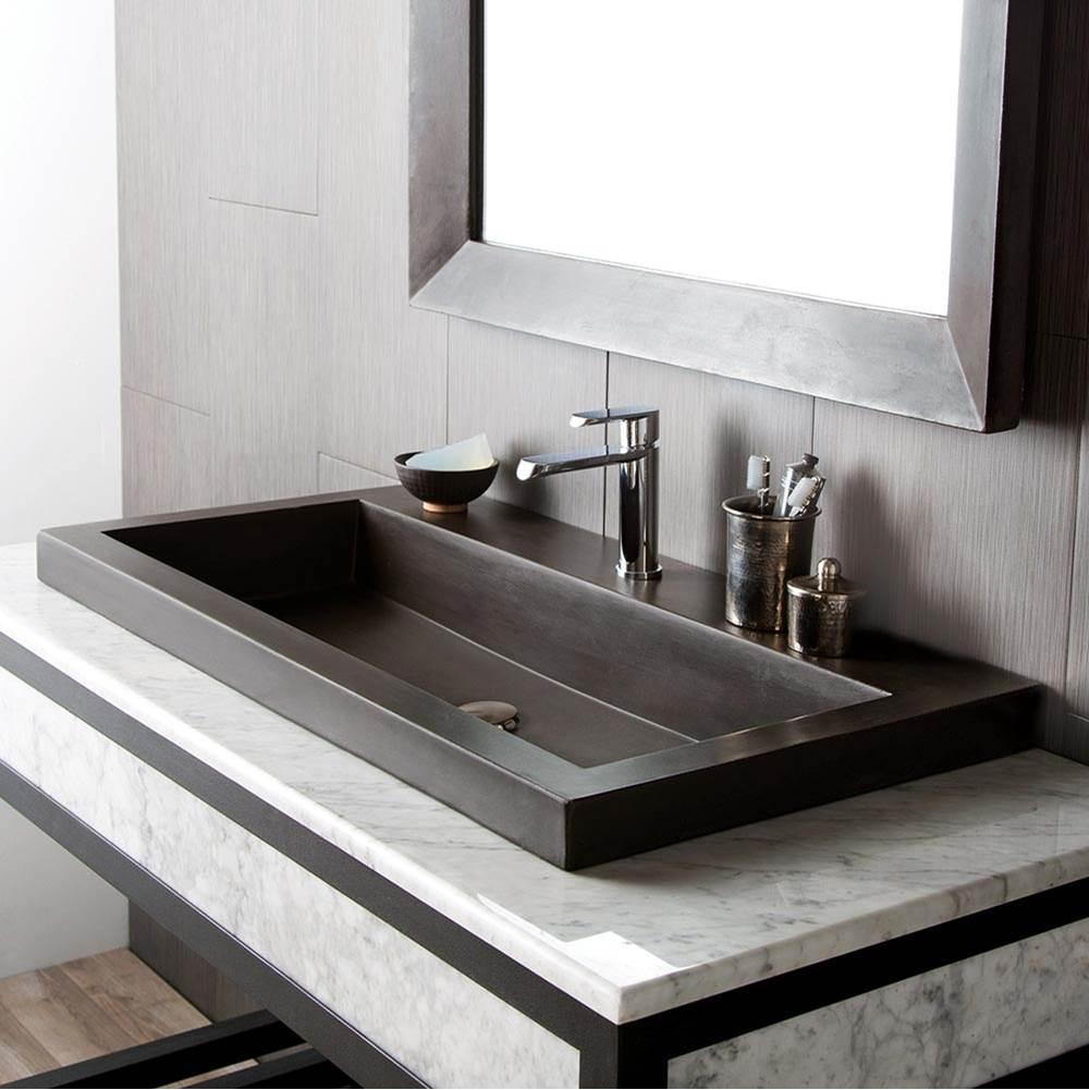 trough 3619 bathroom sink in slate no faucet holes