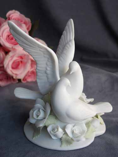 Rose Dove Wedding Cake Topper Figurine