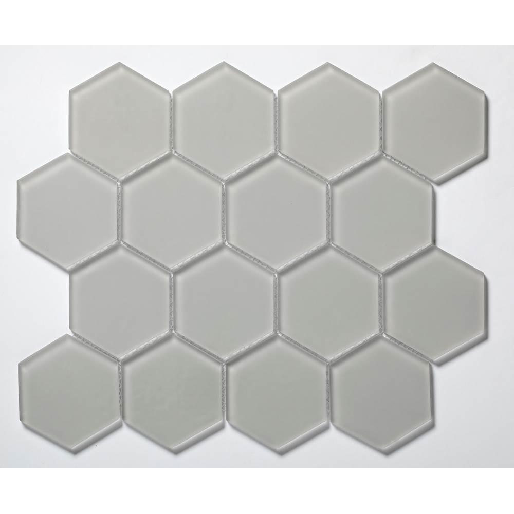 3 hex glass mosaic tile in gloss smoke