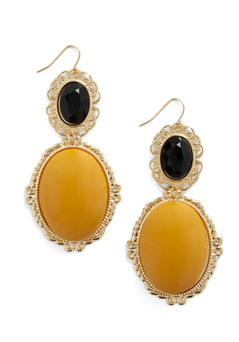 Marigold and black round stone earrings framed-gold