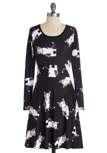 Not Just a Kitty Face Dress in Cartoon