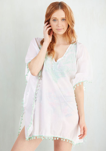 Rest and Ray-laxation Cover-Up - Cotton, Sheer, Woven, White, Mint, Embroidery, Poms, Beach/Resort, Summer