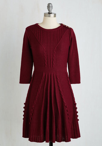 Warm Cider Dress in Burgundy