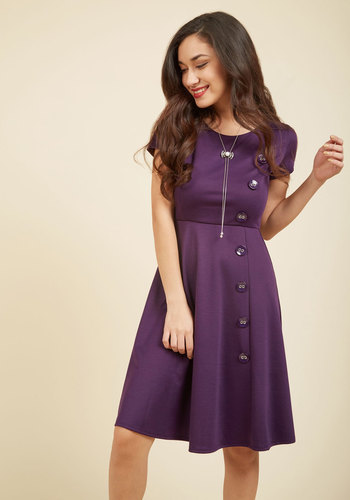 At-Home Entertainer A-Line Dress in Grape