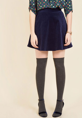 Whirl's Greatest Skater Skirt in Navy by ModCloth - Blue, Solid, Casual, 70s, 90s, Fall, Corduroy, Exclusives, Private Label, Cotton, Short, Pockets, Work, Vintage Inspired, Rustic, Scholastic/Collegiate, Full, Winter, Better, Variation, Saturated, Girls Night Out, ModCloth Label, Best Seller, Best Seller