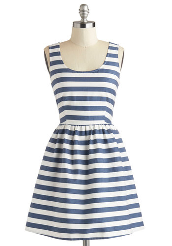 A Lakeshore Bet Dress - Blue, White, Stripes, Cutout, Casual, Nautical, A-line, Sleeveless, Summer, Scoop, Woven, Short