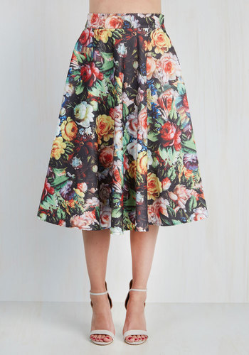 Painted Posies Skirt by Chi Chi London - Long, Satin, Woven, Floral, Party, 50s, High Waist, Full, Better, Black, Vintage Inspired, Spring, Daytime Party, Press Placement, Black