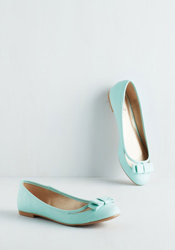 Swing into Spring Flat in Mint - Flat, Faux Leather, Mint, Solid, Bows, Work, Casual, Daytime Party, Pastel, Good, Variation, Top Rated